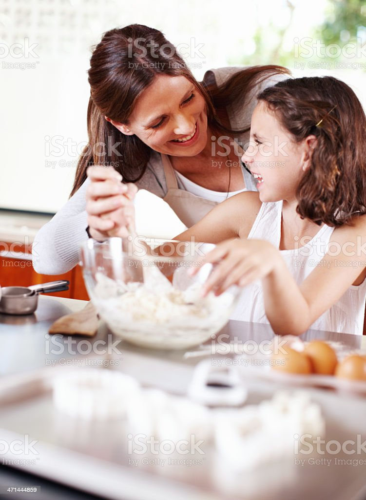 Baking with my mom royalty-free stock photo