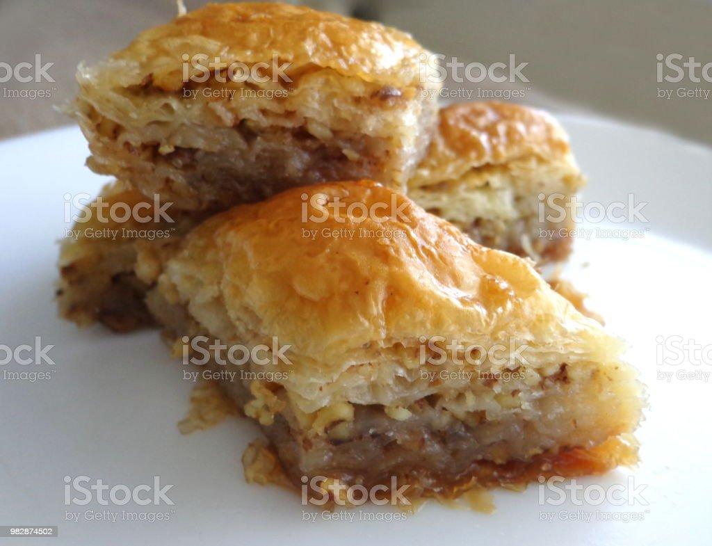 Baklava dessert stock photo