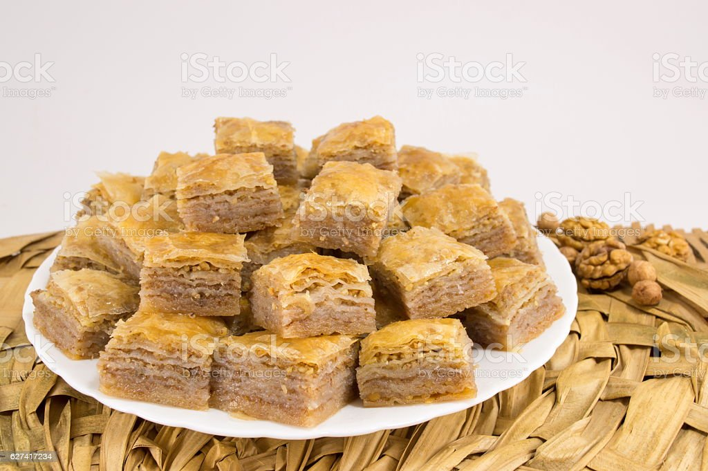 baklava on a plate stock photo