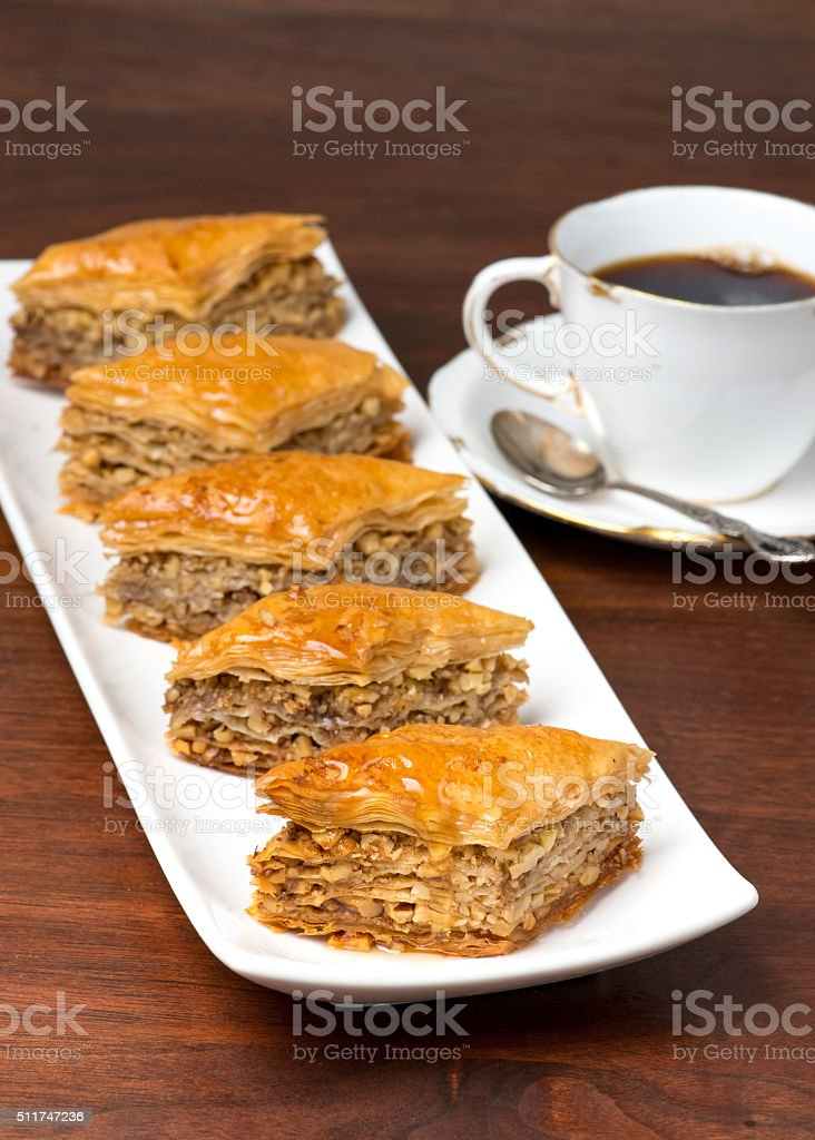 Baklava on white bone china plate stok fotoğrafı