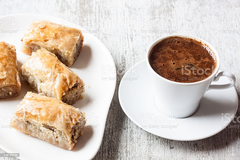 Baklava with walnut and Turkish coffee stok fotoğrafı