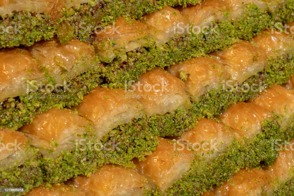Baklawa with pistachio from turkish cuisine stock photo