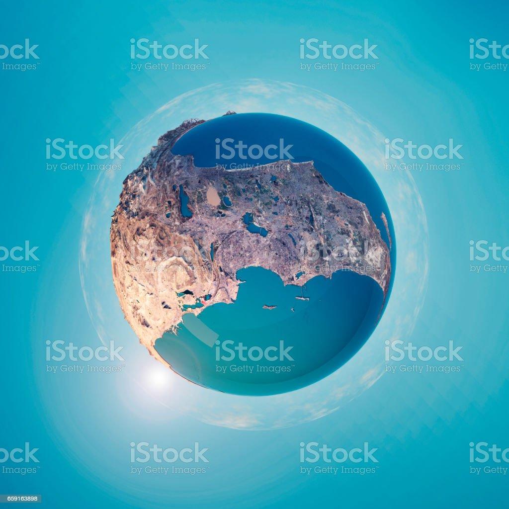 Baku 3d Little Planet 360degree Sphere Panorama Stock Photo More
