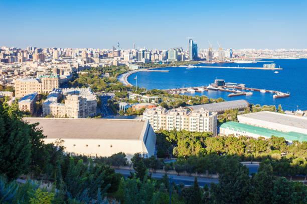 Baku aerial panoramic view stock photo
