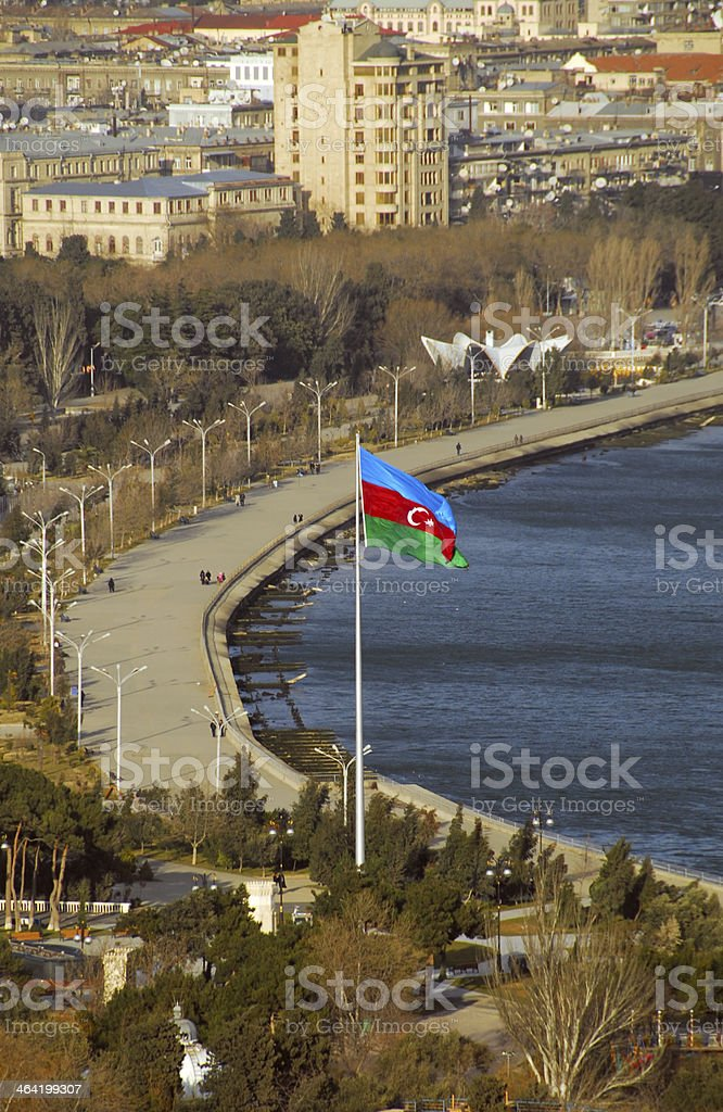 Baku, Azerbaijan: flag on the corniche stock photo