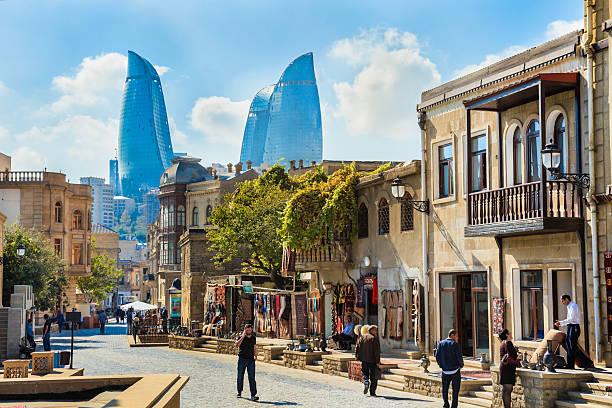 Baku Azerbaijan inner city cityscape, Flame Towers skyscrapers skyline stock photo