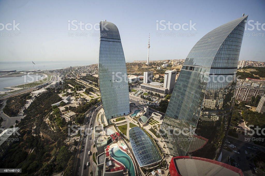 Baku, Azerbaijan on the Caspian Sea seen from the Flames Towers stock photo