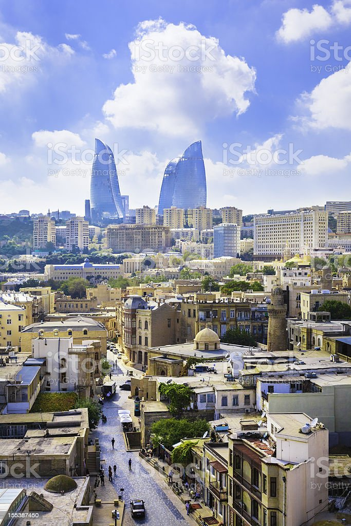 Baku Azerbaijan Skyline Cityscape with modern architecture Flame Towers skyscrapers stock photo