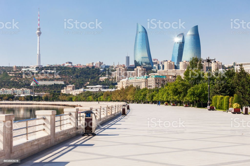 Baku boulevard, Caspian sea stock photo