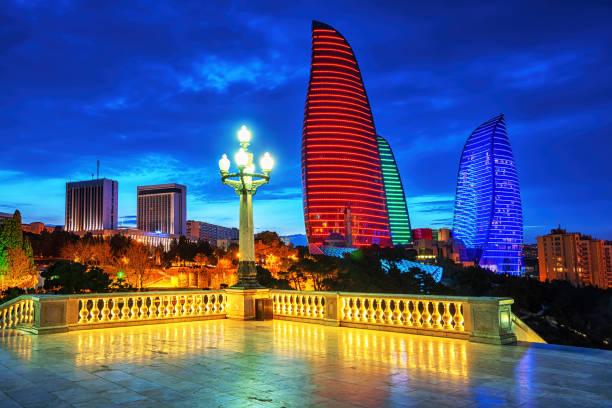 Baku city night view, Azerbaijan stock photo