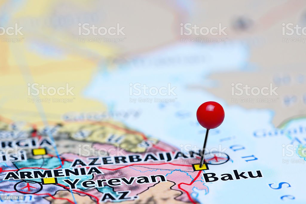 Baku pinned on a map of Asia stock photo