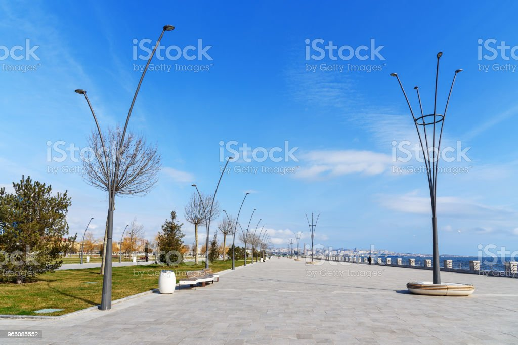 Baku White city Boulevard. New city park embankment. Azerbaijan royalty-free stock photo