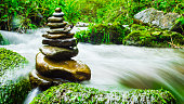 Balance and harmony stone in nature