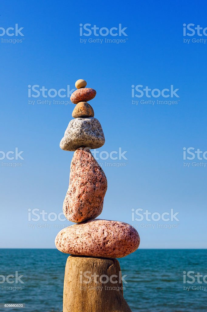Balance and poise stones. Rock zen on the background of stock photo