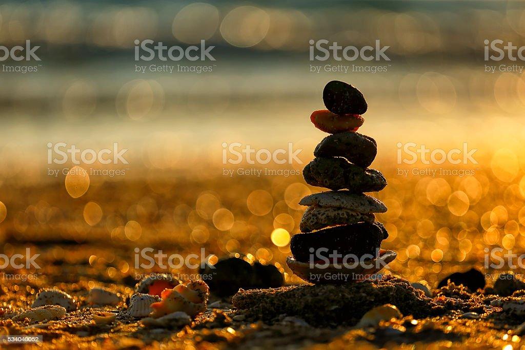 Balance at sunset stock photo