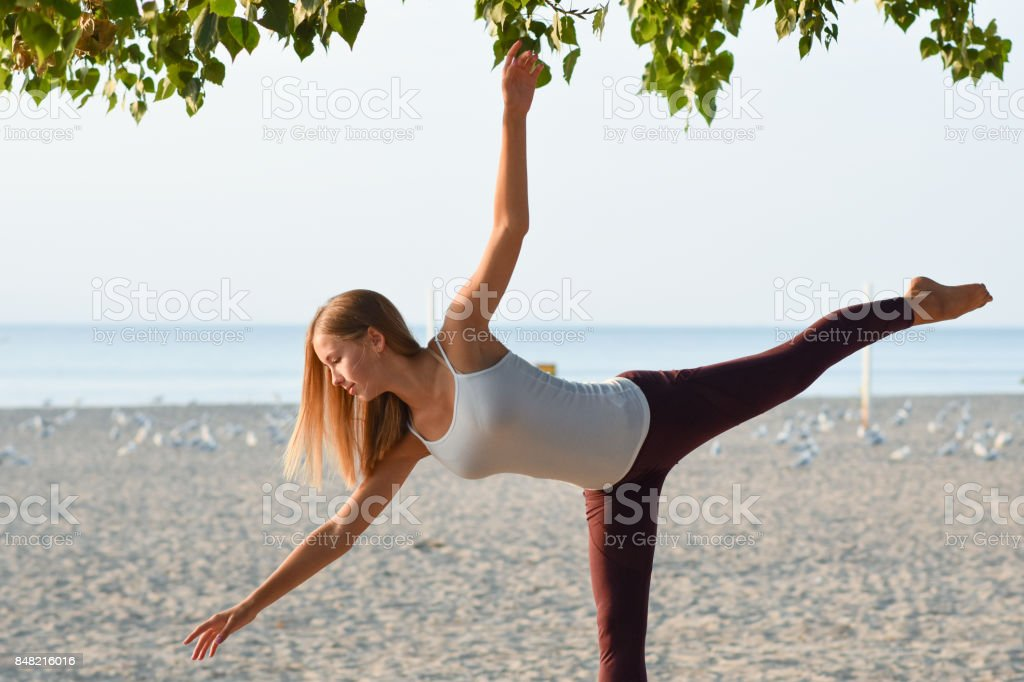 Balance at the beach stock photo