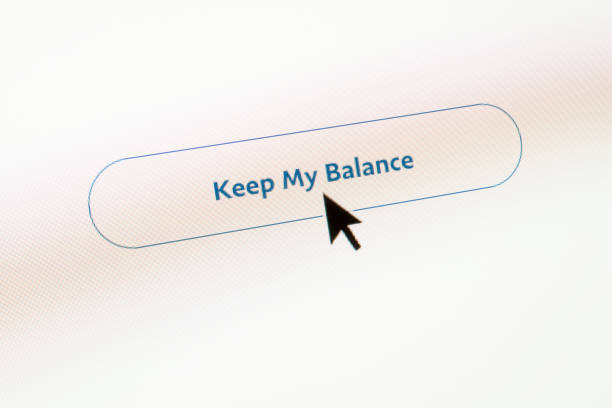 balance banking web button on webpage - mouse pointer stock photos and pictures