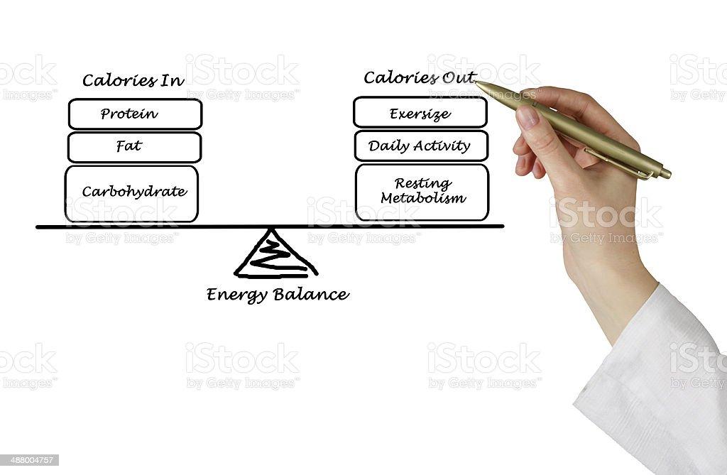 Balance between Energy intake and  expenditure stock photo