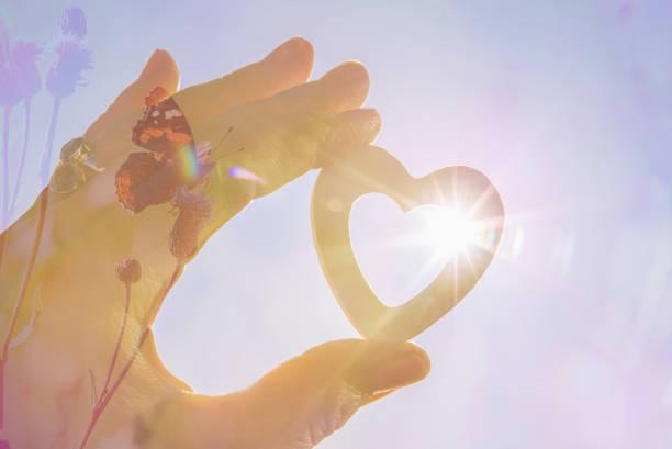 balans tussen mens en natuurconcept. herstel van het evenwicht in de natuur. positief houdingsconcept. persoon die hartvorm, het effect van de zonnester op achtergrond houdt. - onschuld stockfoto's en -beelden