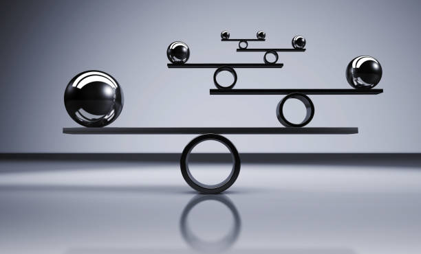 Balance Business Lifestyle Concept Business and lifestyle balance concept with balanced metal balls on grey background 3D illustration. balance stock pictures, royalty-free photos & images