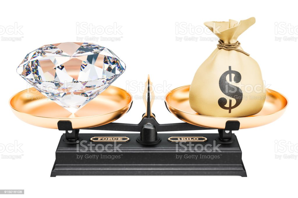 Balance concept, diamond and money. 3D rendering isolated on white background stock photo