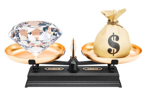 balance-konzept, diamant und geld. 3d-rendering isoliert auf weißem hintergrund - diamanten kaufen stock-fotos und bilder