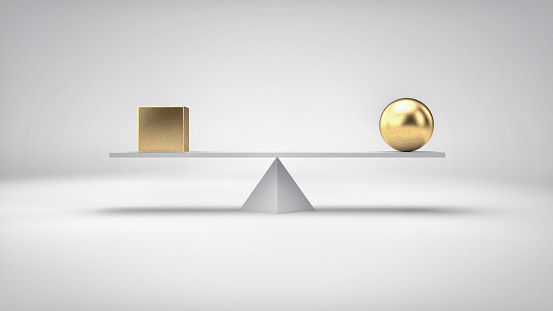 istock Balance concept illustration. Different geometric shapes in perfect balance. 529676756