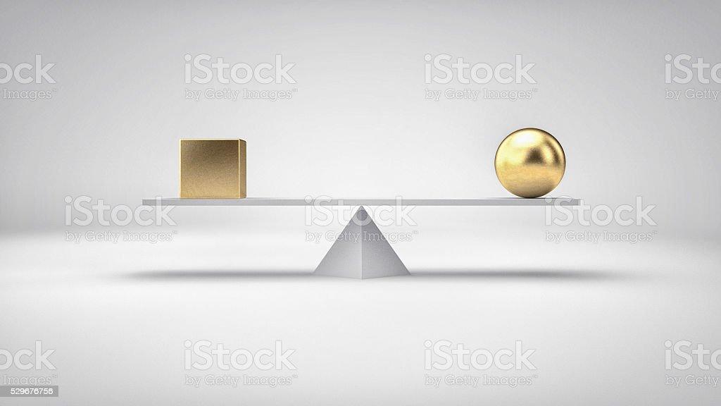 Concepto de ilustración de equilibrio. Diferentes Formas geométricas en equilibrio perfecto. - foto de stock