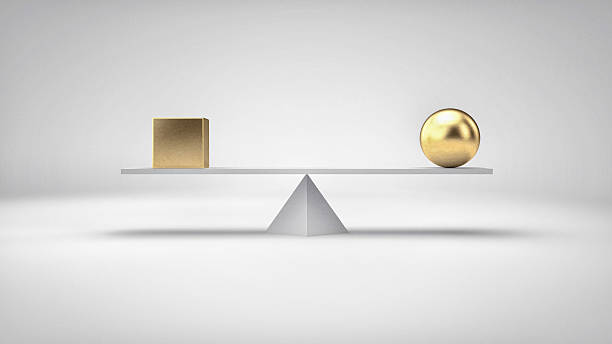 Balance concept illustration. Different geometric shapes in perfect balance. stock photo