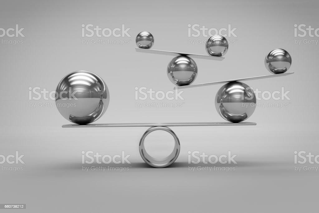 Balance Concept with Chrome Balls royalty-free stock photo
