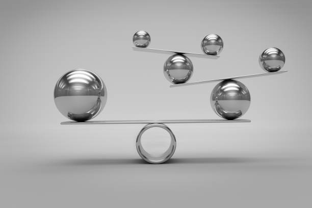 balance concept with chrome balls - balance stock pictures, royalty-free photos & images