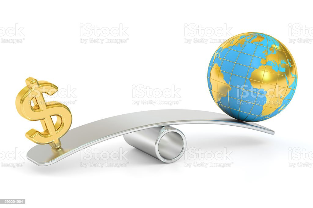 balance concept, world and money. 3D rendering royalty-free stock photo