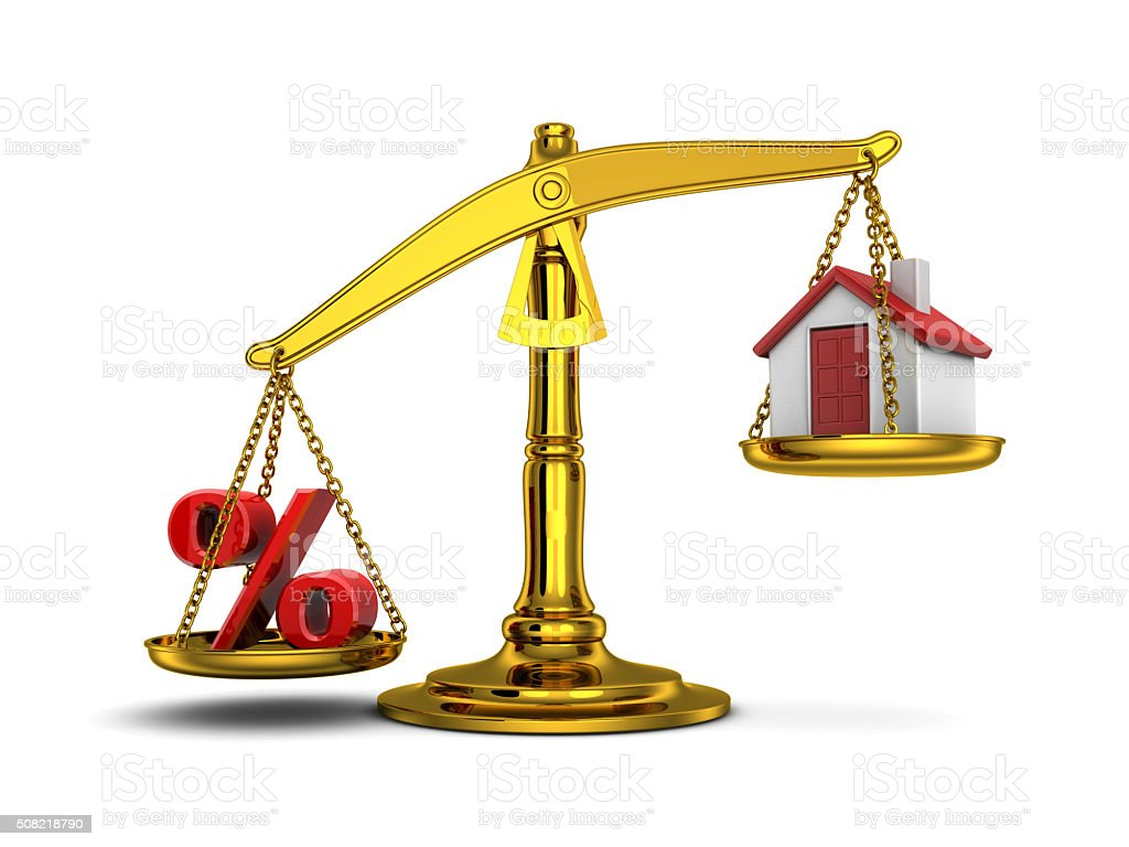 Balance home and percent down stock photo