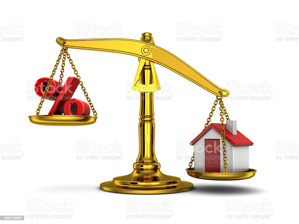 Balance home down and percent stock photo