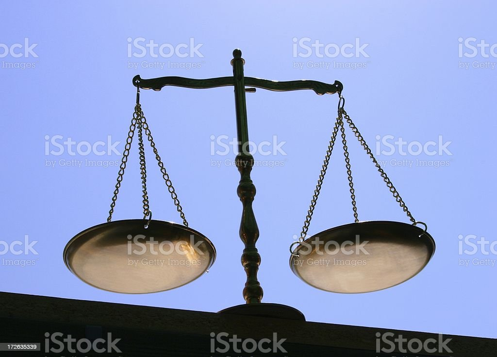 Balance Justice Libra from below royalty-free stock photo