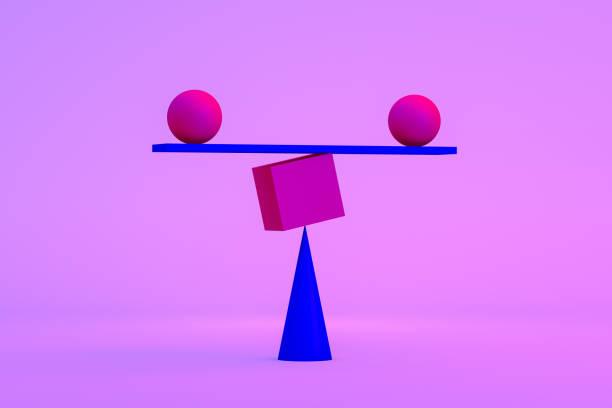 balance, minimal concept, neon lights - balance graphics foto e immagini stock