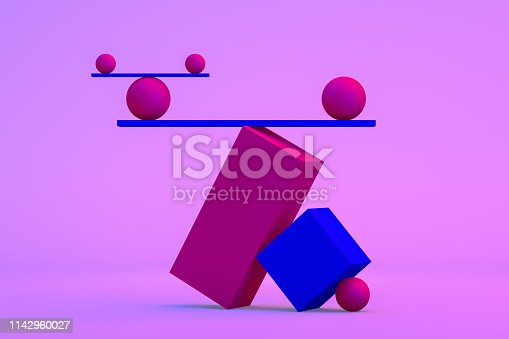 Balance with geometric shapes on gradient colorful background. Neon colors.