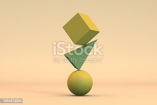 Balance with geometric shapes on gradient and colorful background.