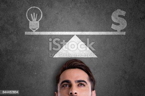 istock Balance of light bulb and dollar sign 544452834