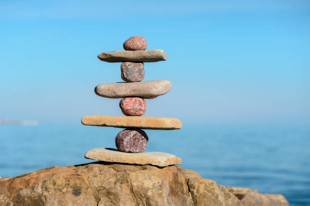 Balance of several stones stock photo