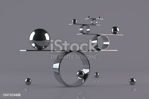 Balance board on gray background with chrome spheres and reflections.