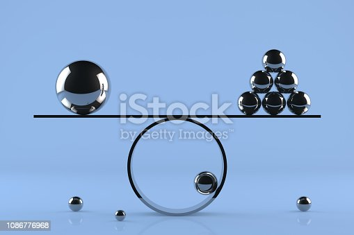 Balance board on blue background with chrome spheres and reflections.