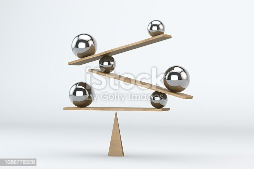 Balance board on white background with blue spheres.