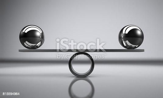 Business and lifestyle balance concept with balanced metal balls on grey background 3D illustration.