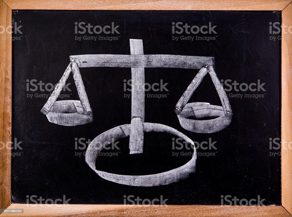 balance picture on blackboard Lizenzfreies stock-foto