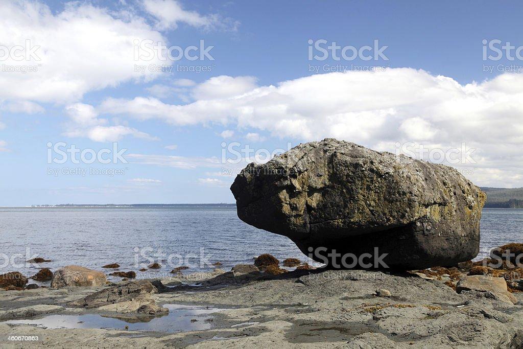 Balance Rock, Skidegate, Graham Island, Haida Gwaii, British Columbia. stock photo