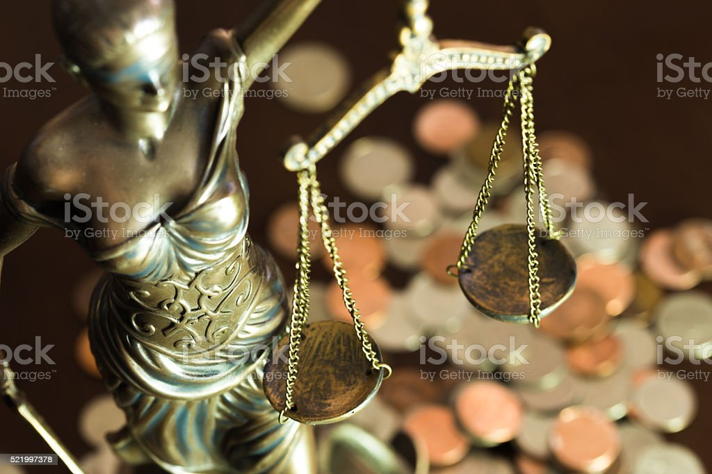 Balance scale of Lady Justice stock photo