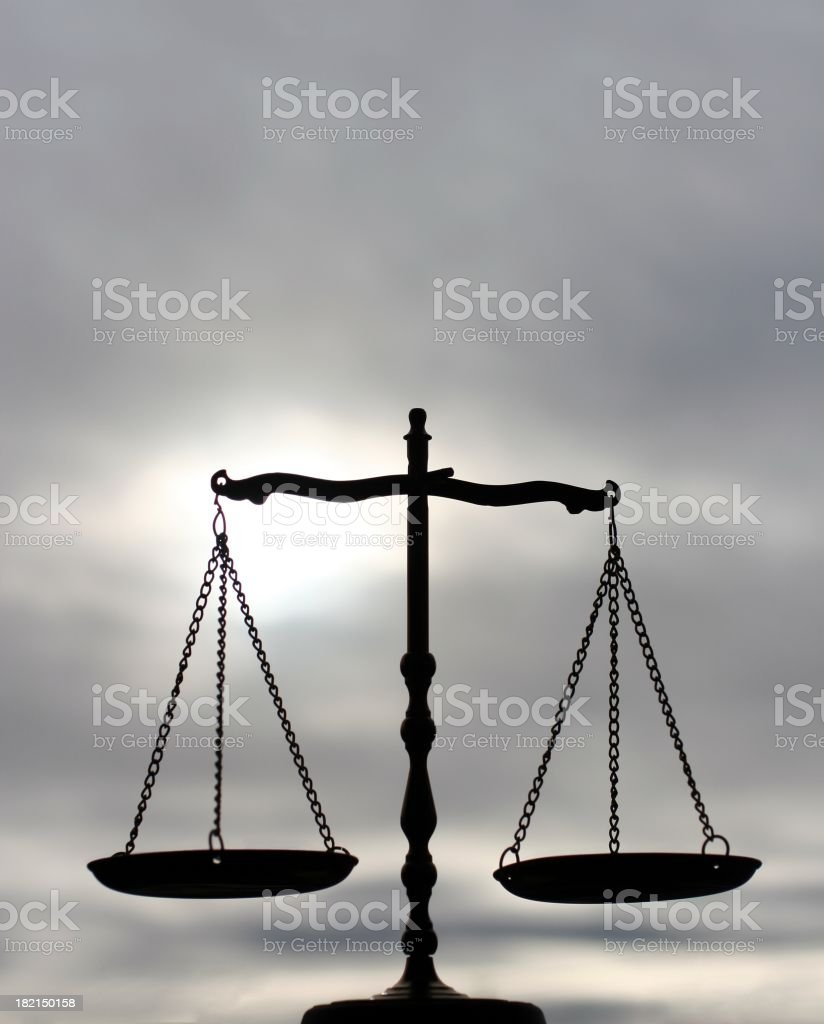 Balance Scale With Gray Sky royalty-free stock photo