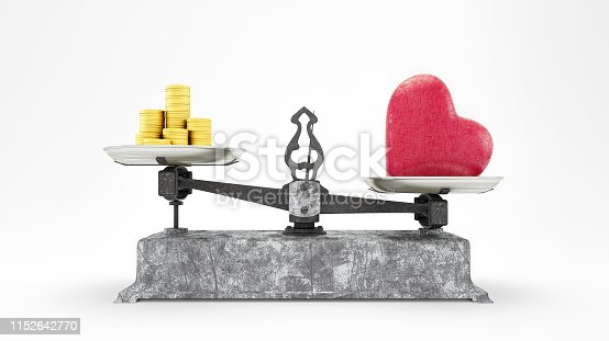 Balance Scale with Heart and Gold Coins, Love is worth more than Money concept 3D Render, 3D Illustration isolated on white