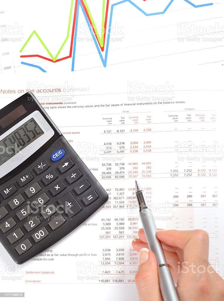Balance sheet and chart royalty-free stock photo
